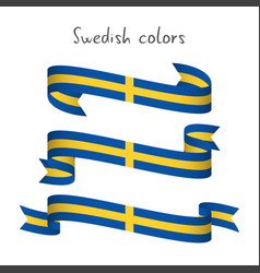Set of three ribbons with the swedish colors vector