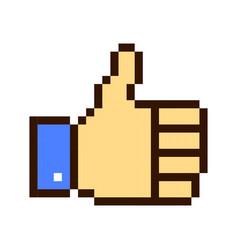 thumb up pixel art cartoon retro game style vector image