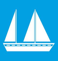 Sailing boat icon white vector