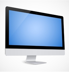 Computer display with blue screen vector