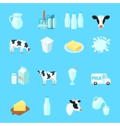 Milk icons flat vector