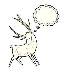 cartoon white stag with thought bubble vector image