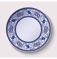 Plate with a wide floral design border in the vector image
