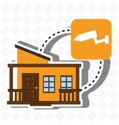 Smart home with camera cctv isolated icon design vector
