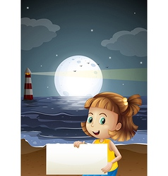 A cute little girl holding an empty signboard at vector image vector image