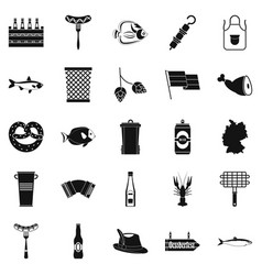 barbecue icons set simple style vector image