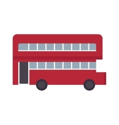 Beautiful double decker red bus flat design vector image