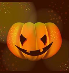 Bright halloween pumpkin over dark vector