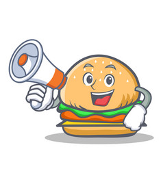 Burger character fast food with megaphone vector