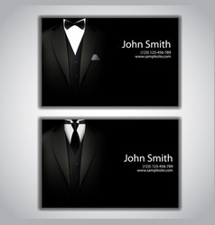 business cards with elegant suit and tuxedo vector image