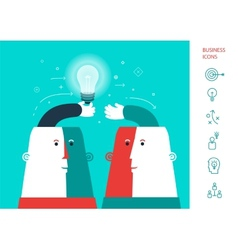 Businessman giving ideas bulb to his partner vector image vector image