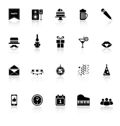 Celebration icons with reflect on white background vector image vector image