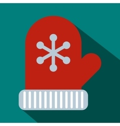 Christmas mitten icon flat style vector image