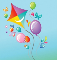 colorful balloons and a kite vector image