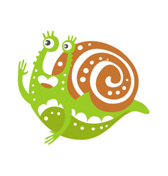 cute snail character funny mollusk colorful hand vector image