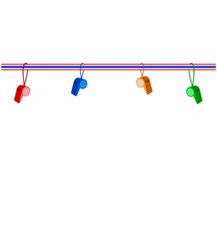 Four whistles hanging on a stripe ribbon vector