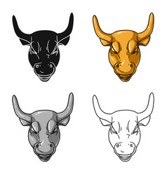 golden charging bull icon in cartoon style vector image vector image