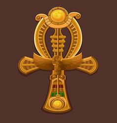 Golden cross ankh vector
