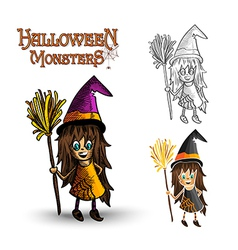 Halloween monsters spooky witch EPS10 file vector image vector image