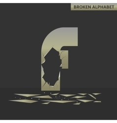 Letter f broken mirror vector