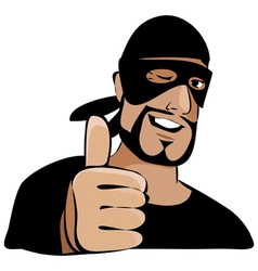 Man in black mask with thumb up vector image vector image