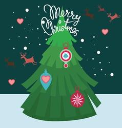 merry christmas post card-tree decor vector image vector image
