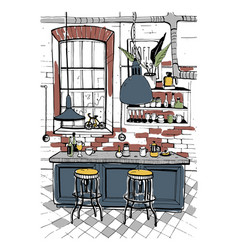 modern cafe interior in loft style hand drawn vector image