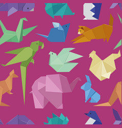 origami style of different paper animals seamles vector image vector image