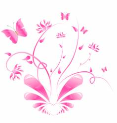pink floral design with butterflies vector image vector image