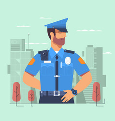 Police officer man of police force standing full vector