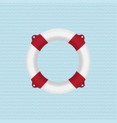 Red lifebuoy on a blue background vector