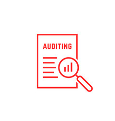 red linear document like auditing vector image