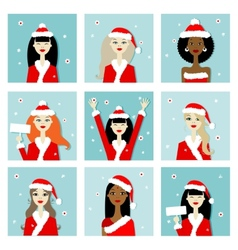 Santa girls christmas postcards for your design vector image