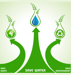 Save earthwater and environment concept vector