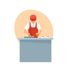 Seller is preparing french fries and burgers vector
