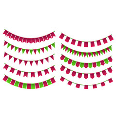 Set of cartoon flag garlands isolated on white vector