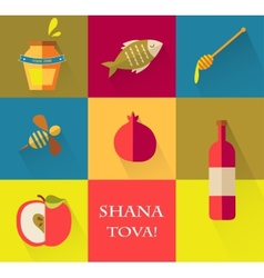 Set of icons for jewish holiday rosh hashana happy vector