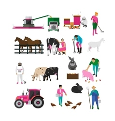 Set of village people flat design isolated vector