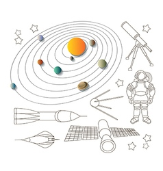 Space icons and solar system vector image vector image
