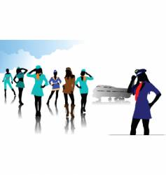 stewardess silhouettes vector image vector image