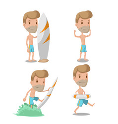 Surfer cartoon guy character set vector