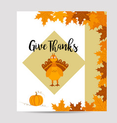 thanksgiving background with turkey and pumpkin vector image