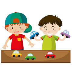two boys playing with cars vector image