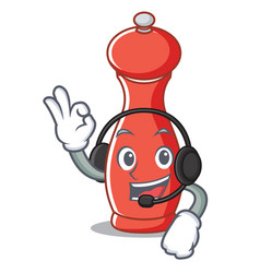 With headphone pepper mill character cartoon vector