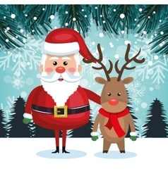 Santa with reindeer and landscape snow graphic vector