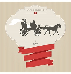 Vintage wedding invitation with retro carriage vector image
