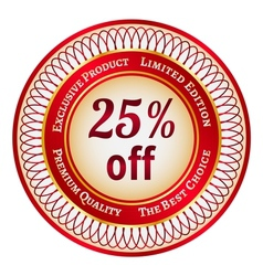 Label on 25 percent discount vector
