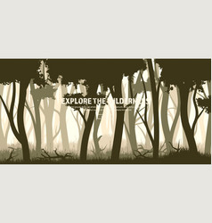 trees set wild pine forest nature background vector image