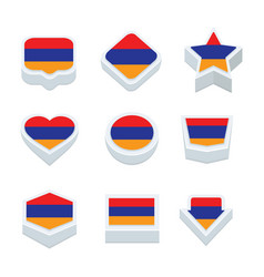 Argentina flags icons and button set nine styles vector