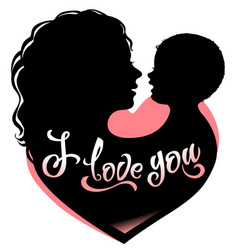 Silhouette mother and baby with heart and vector